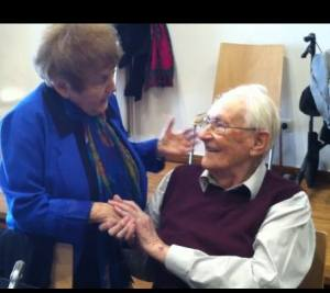 Holocaust survivor Eva Mozes Kor with former Nazi prison guard Oskar Groening.