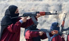 terrorists, guns, women fighters